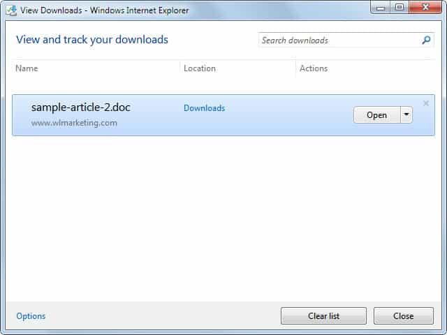 internet explorer download options