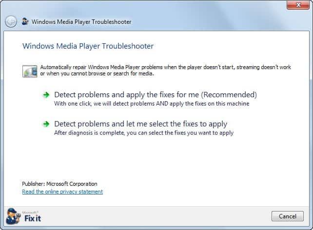 windows media player troubleshooter