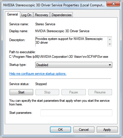 disable NVIDIA Stereoscopic 3D Driver