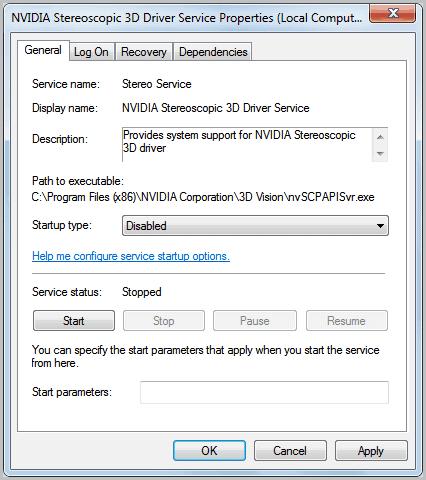 disable NVIDIA Stereoscopic 3D Driver