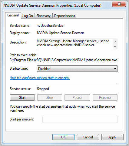 disable nvidia update