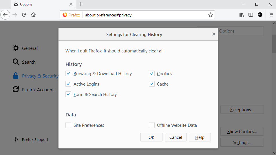 Configure Firefox To Delete All Cookies On Exit But Select Ones