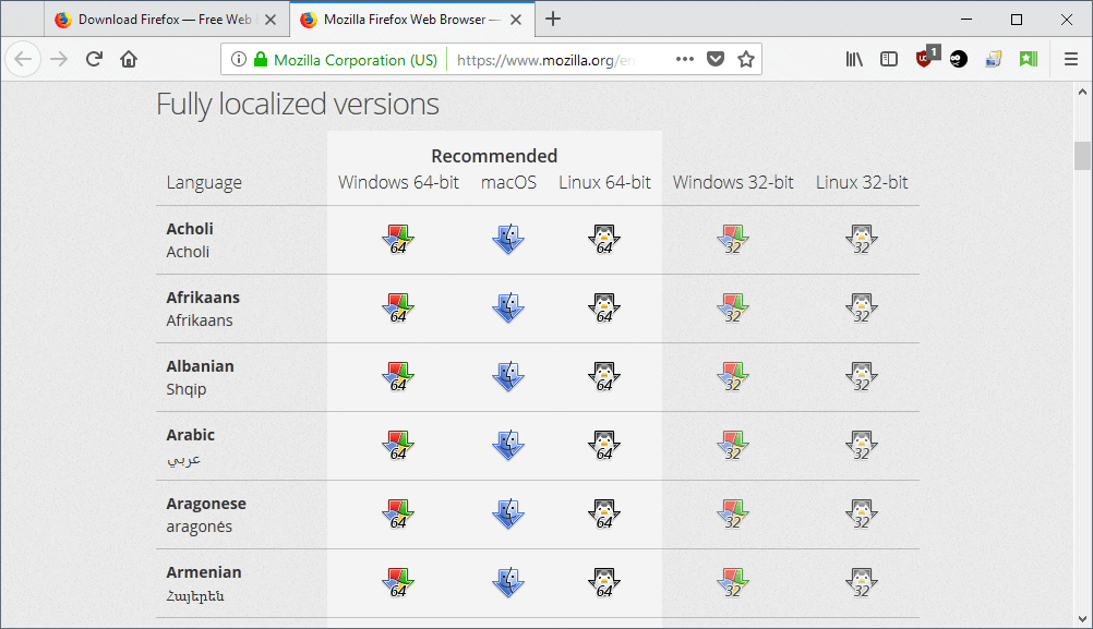 firefox fully localized versions