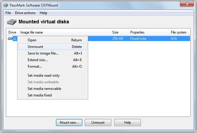 mounted virtual disks