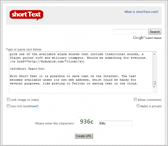 short text