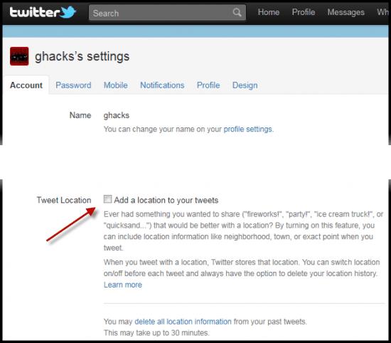 twitter account settings