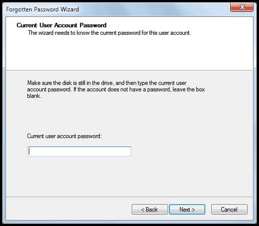 user account password