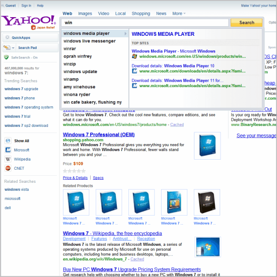 yahoo search direct