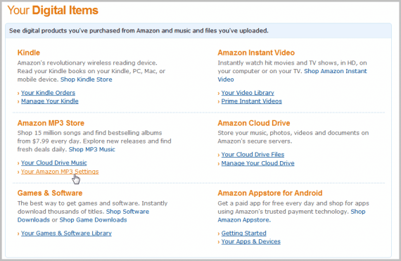 amazon mp3 settings