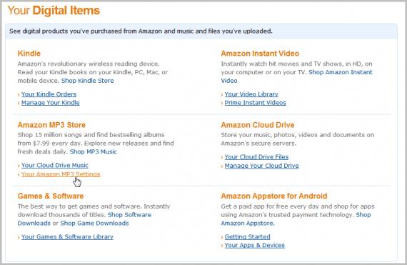 amazon mp3 settings
