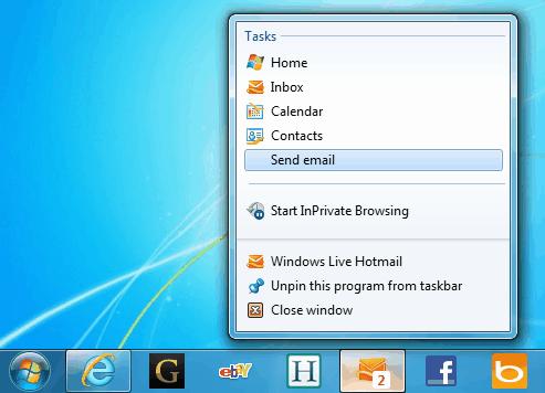 hotmail windows 7 taskbar