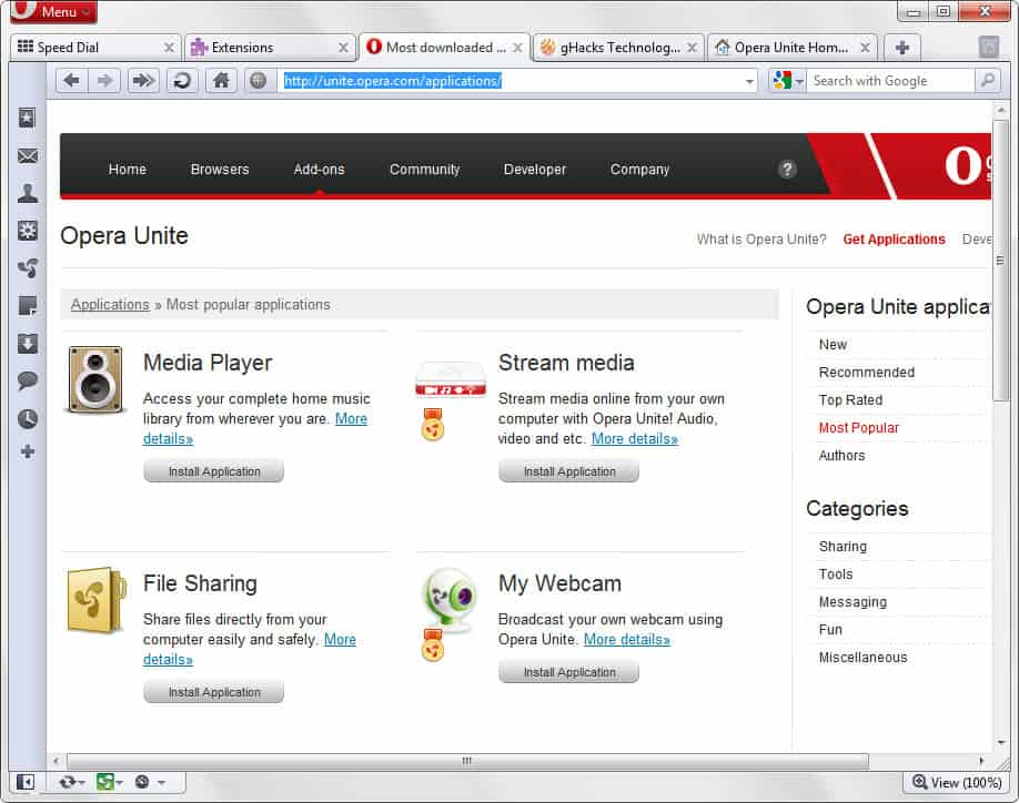 opera unite applications