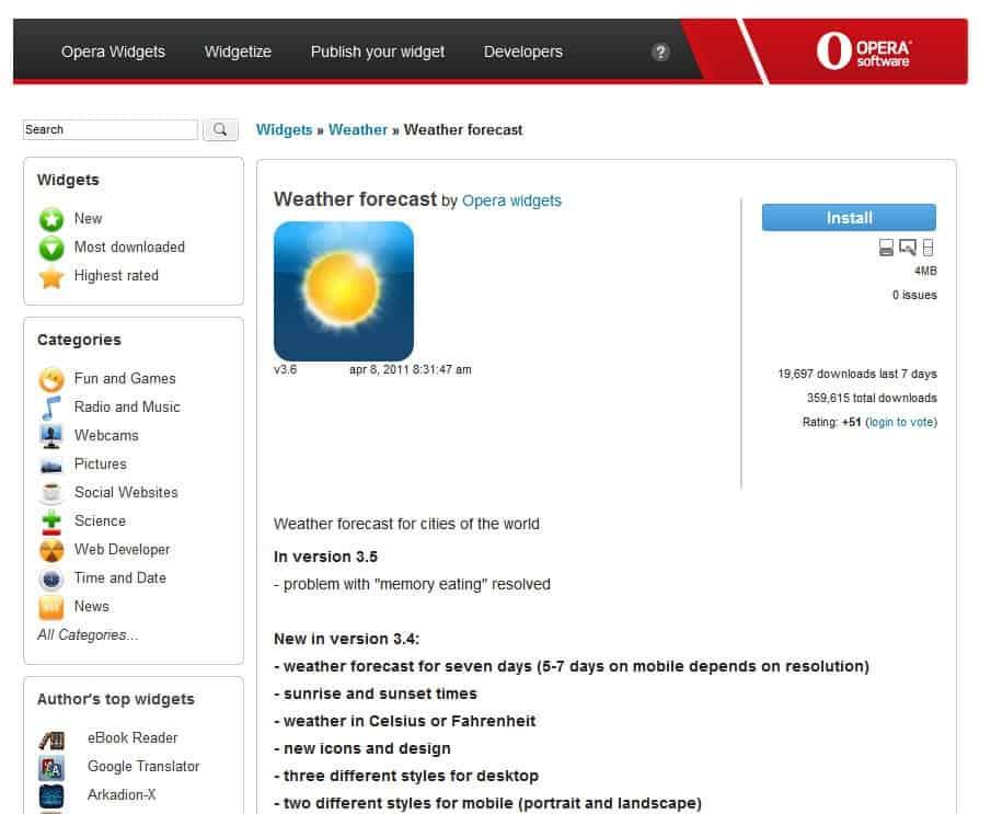 opera widget install