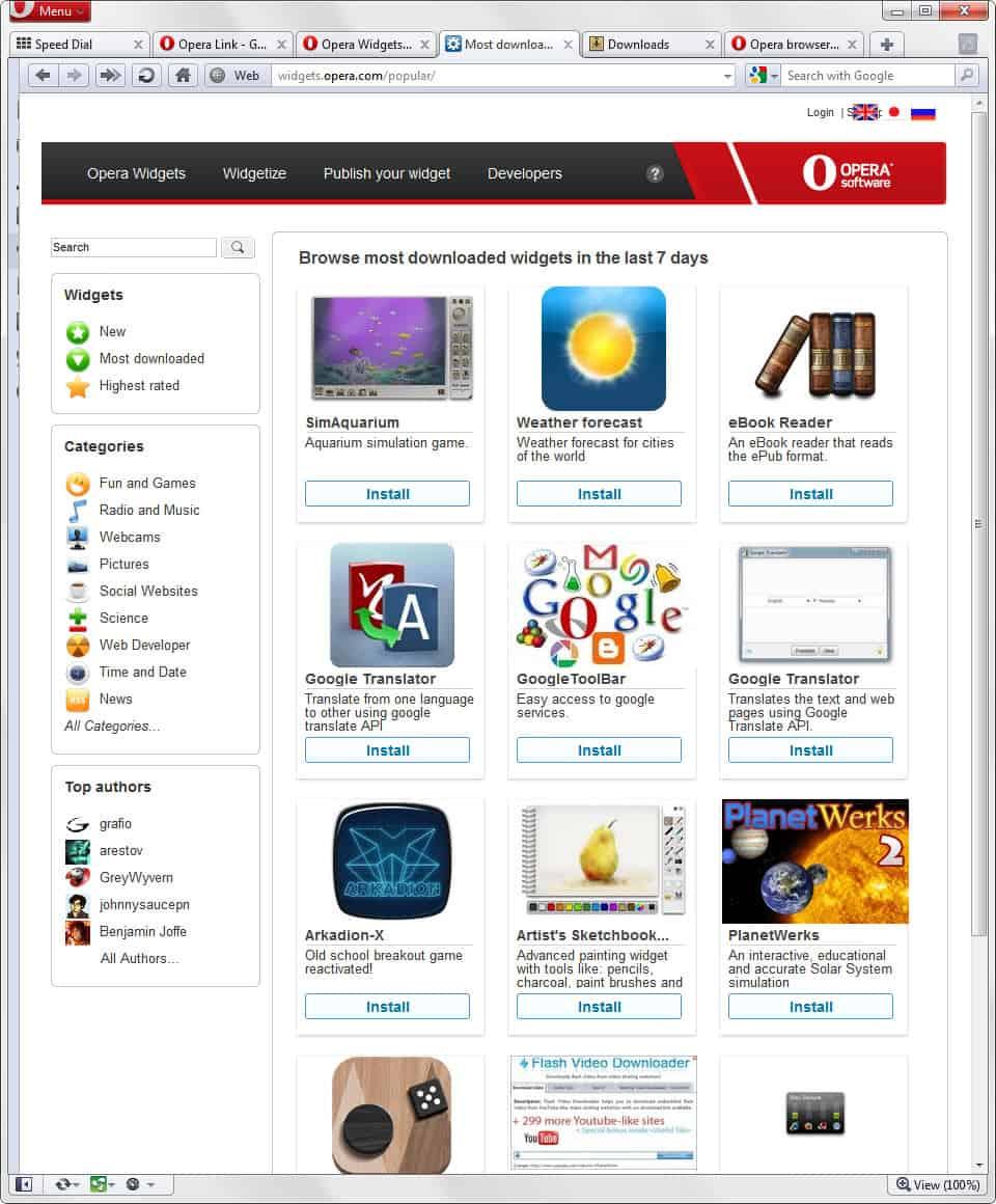 opera widgets install