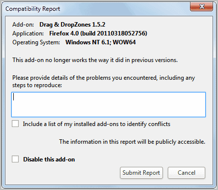 report incompatible addon