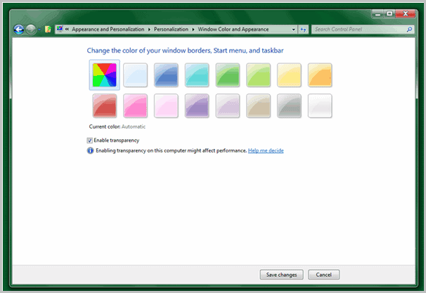 windows aero auto colorization