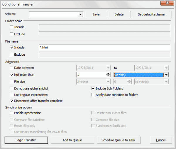 conditional ftp transfer