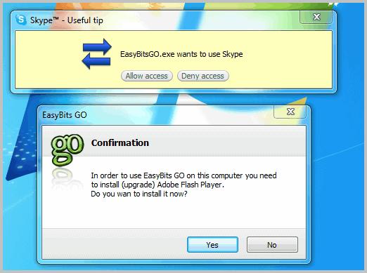 easybitsgo.exe wants to use skype