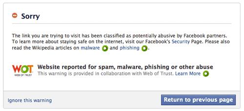 facebook warning web of trust