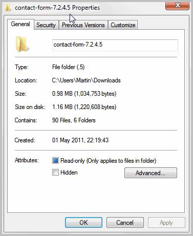 file folder properties