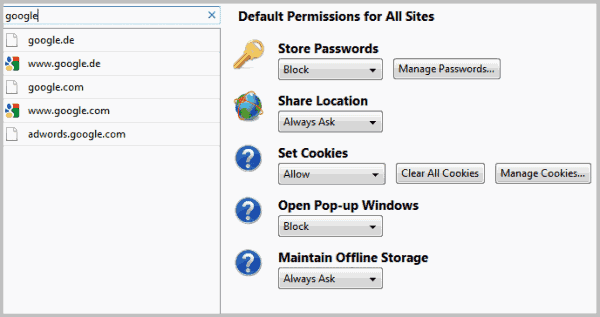 firefox about permissions