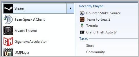 jumplist start menu