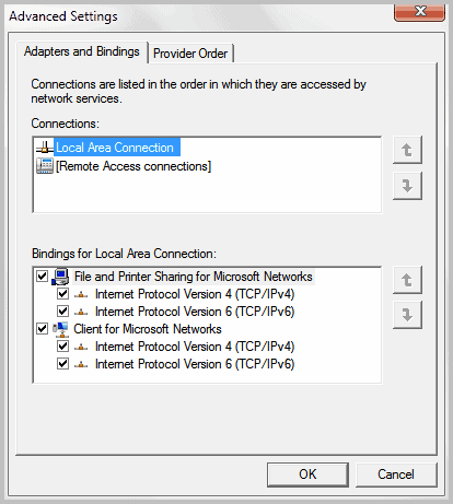 network connections priority