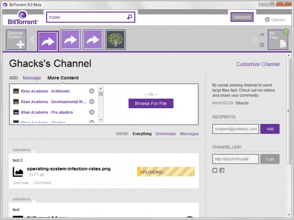 personal torrent channel