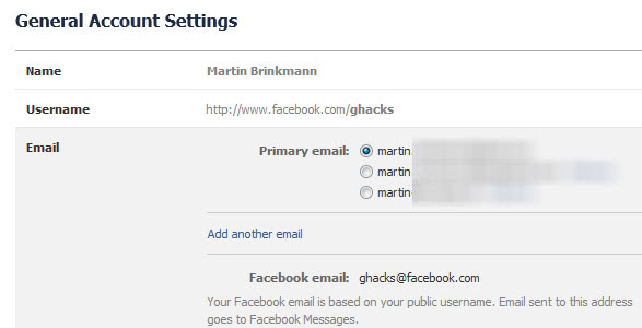 facebook primary email