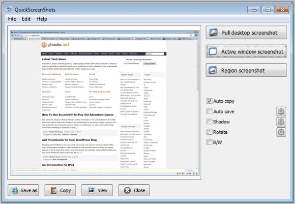 quick screenshots software