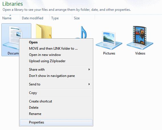 windows libraries save location