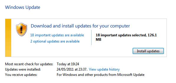 windows updates june 2011