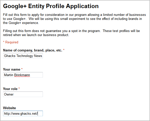 google+ entitiy profile application