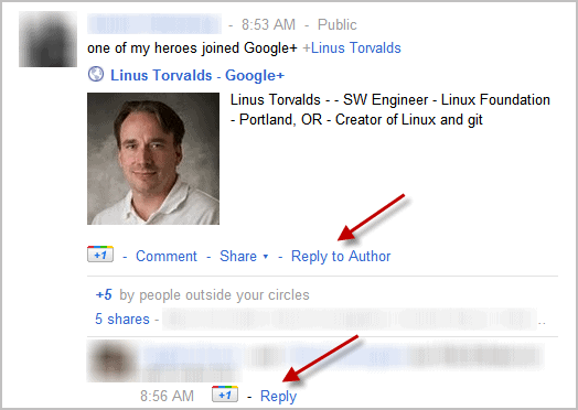 google+ reply to author