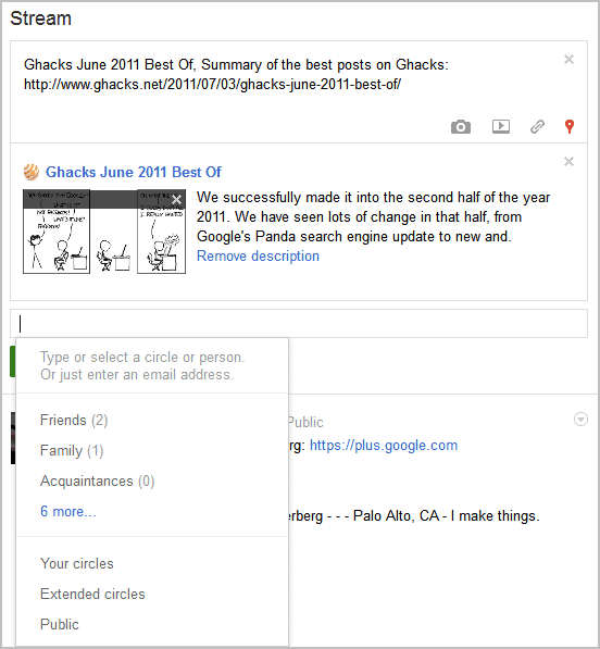 google+ status visibility