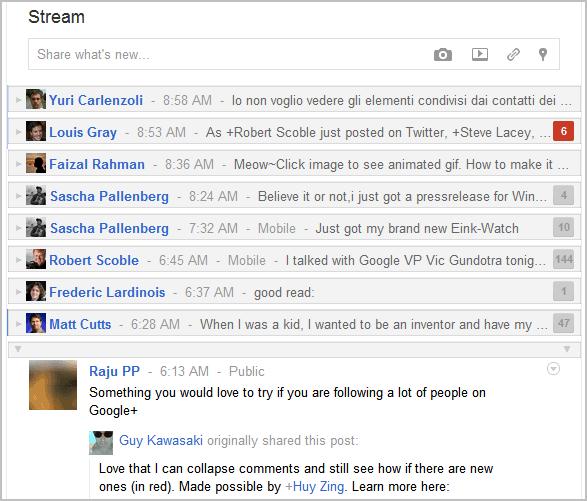 google+ stream collapse