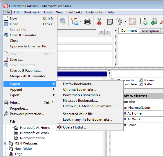 linkman lite bookmarks manager