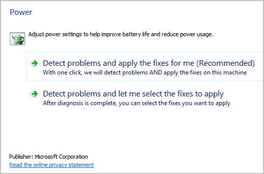 microsoft fix it power settings