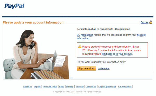 paypal please update your information