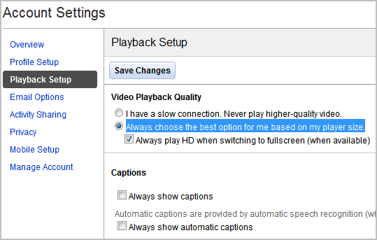 youtube account playback setup
