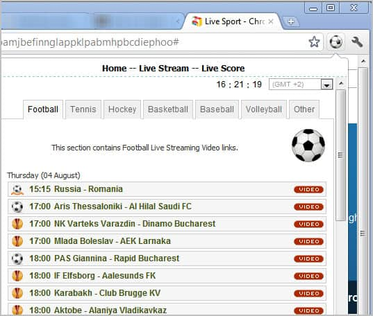 Chrome Live Sports extension interface