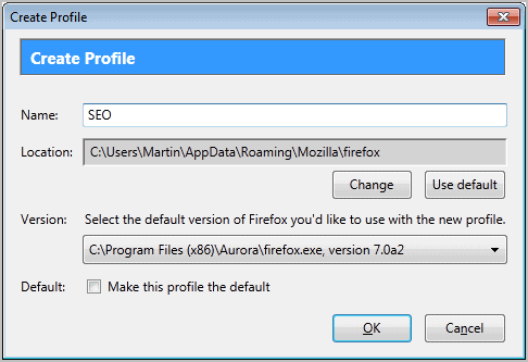 create firefox profile
