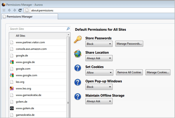 The New Firefox Permissions Manager