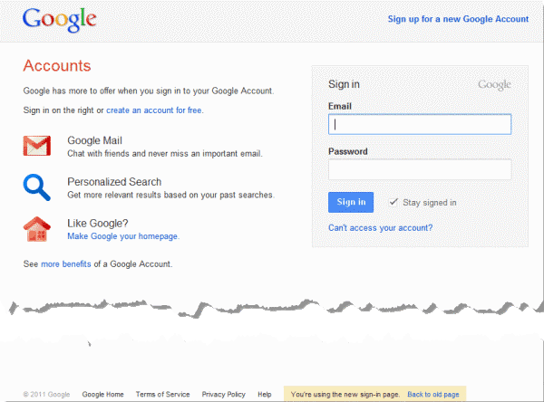 google sign-in page