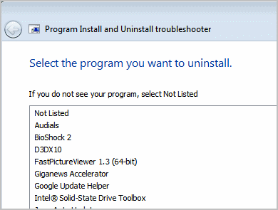 select program to uninstall