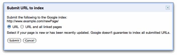 Submit URLs To Google Via Google Webmaster Tools