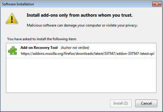 add-on recovery tool firefox