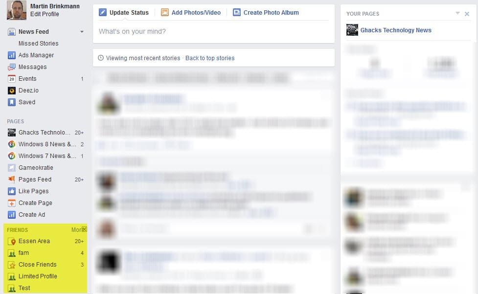 списки друзей facebook
