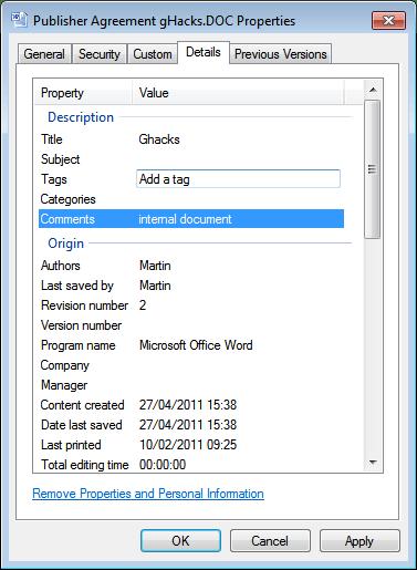 file properties metadata
