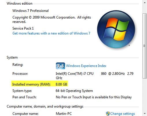 installed memory ram